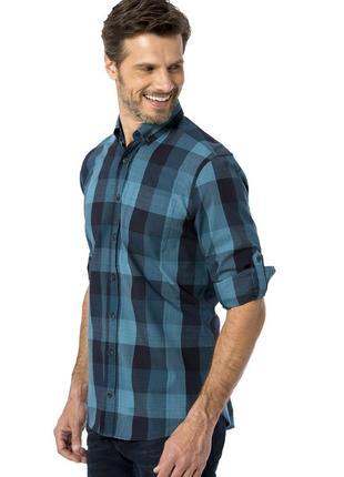 Синяя мужская рубашка lc waikiki / лс вайкики в клетку цвета м...