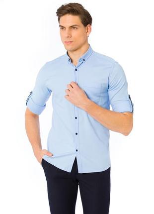 Голубая мужская рубашка lc waikiki / лс вайкики с синими пугов...
