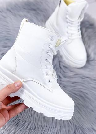 Тренд сезона❤️белые ботинки❤️зимние на шнуровке