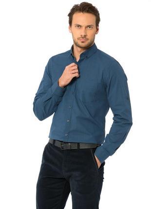 Синяя мужская рубашка lc waikiki / лс вайкики в черную клетку