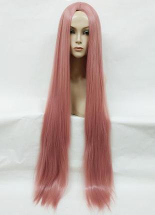 Парик прямой розовый с пробором 100см 3765