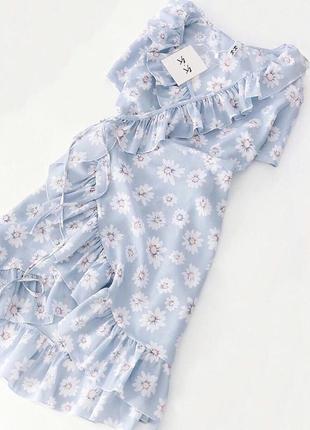 ✅нежное платье рюши воланы с ромашками на запах рр 42-46