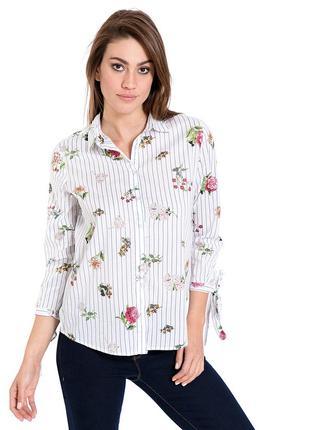 Белая женская рубашка lc waikiki / лс вайкики в синюю полоску,...