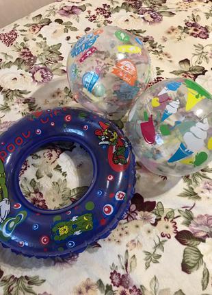 Надувной детский круг + 2 мяча