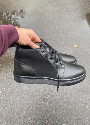 Lux обувь! зимние кожаные ботинки на меху мужские