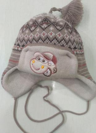 Зимняя шапка-ушанка на флисовом подкладе