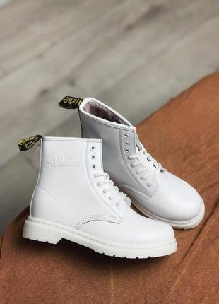 Шикарные женские зимние ботинки dr. martens white 1460