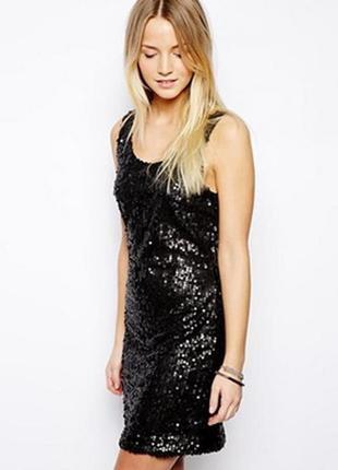 Черное вечернее нарядное мини платье туника с разрезами по бок...