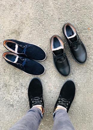 Lux обувь! крутые кожаные зимние ботинки на меху мужские