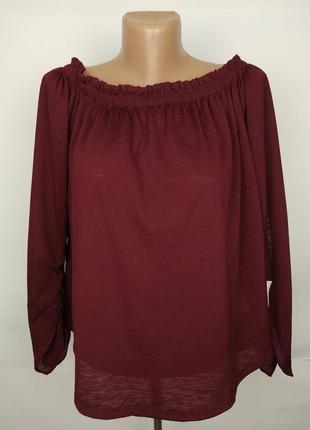 Блуза натуральная стильная бордовая bershka uk 14/42/l