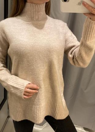 Пудровый свитер под горло кофта свитерок reserved есть размеры