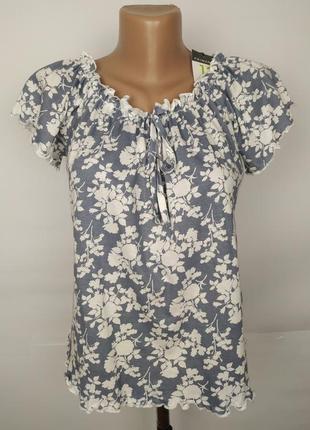 Блуза топ новая хлопковая со спущенными плечами в цветочны при...