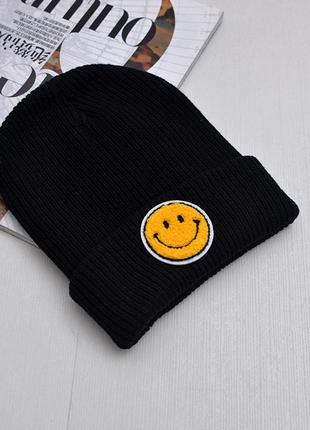 13-235 в'язана шапка зі смайликом вязаная шапка