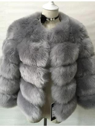 Шуба  лисий  мех 48 размер  топ скидка  зимняя