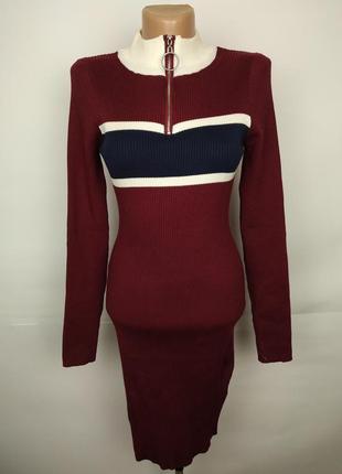Платье модное по фигуре цвета марсала uk 14/42/l