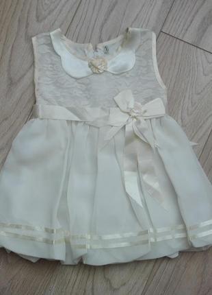 Красивое шифоновое платье с кружевом, на 1-2 года
