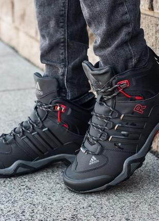 Зимние мужские высокие чёрные кроссовки адидас с мехом, adidas...