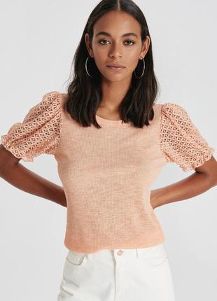 Персиковая женская футболка lc waikiki / лс вайкики с кружевны...