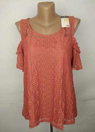 Блуза новая кружевная стильная коралловая primark uk 14/42/l