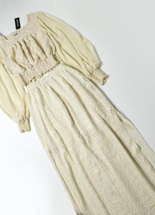 Шикарный кружевной костюм макси длинная юбка