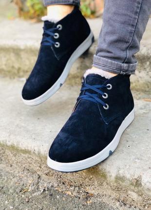 Lux обувь! кожаные замшевые зимние ботинки на меху мужские кро...