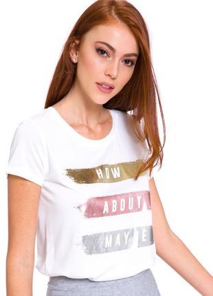 Белая женская футболка lc waikiki / лс вайкики с серебристыми ...