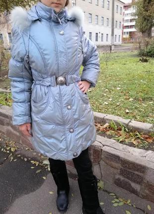 Зимний пуховик, куртка, на холофайбере, рост 146-150