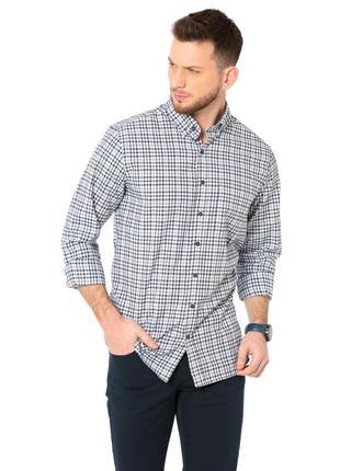 Белая мужская рубашка lc waikiki / лс вайкики в синюю клетку и...