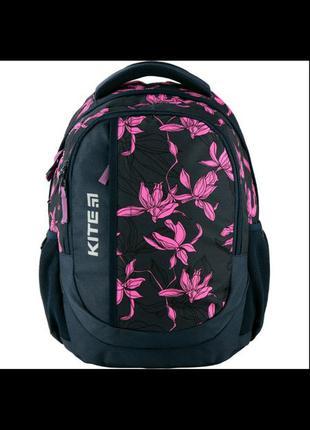 Ортопедический рюкзак для подростка kite цветы