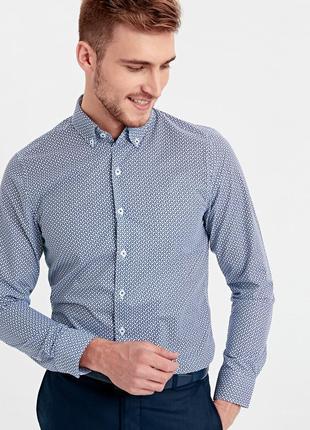 Белая мужская рубашка lc waikiki / лс вайкики с синим принтом ...