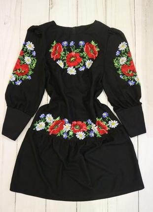 Платье, вышиванка, бисер, ручная работа m-l