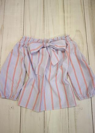 Блузка в полоску с открытыми плечами и завязкой-бантом, l-xl