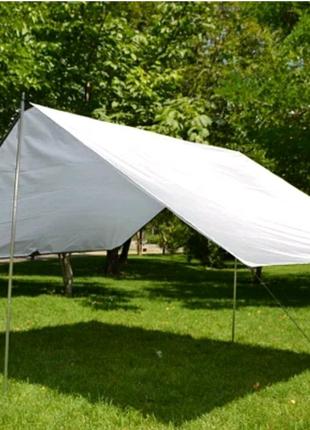 Белый тент,палатка,  навес, брезент  с кольцами-люверсами
