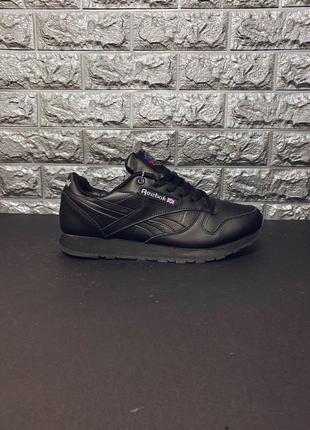 Натуралки!кожаные кроссовки reebok classic leather black мех!