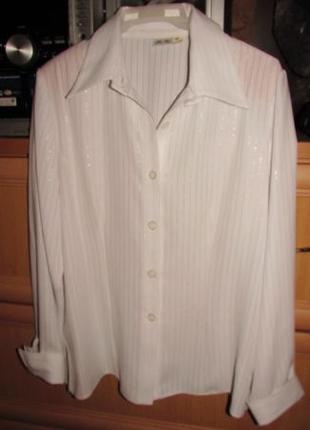 Женская белая блузка -рубашка р-р 46