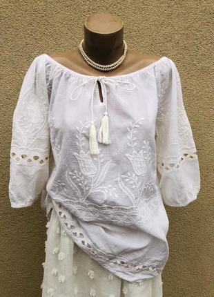 Легкая,белая блуза с вышивкой,рубаха,этно,бохо стиль