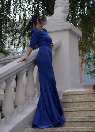 Шикарное торжественное синее платье фотосессия с длинным шлейф...
