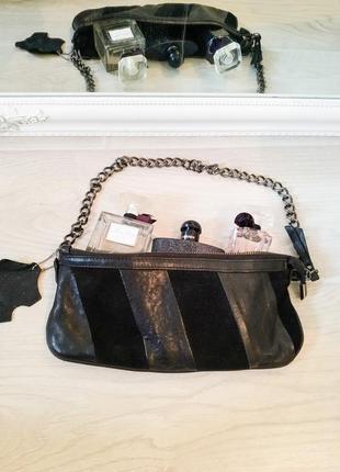Стидьная кожанная черная сумочка-клатч итальянского бренда min...