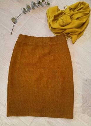 Стройнящая теплая мягенькая юбка карандаш горчичная офис на ос...