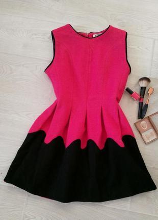 Теплое плотное мягкое розовое зимнее осеннее платье, размер s-m
