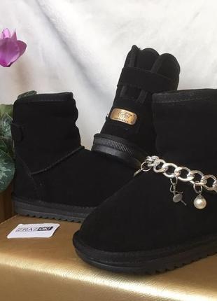 Черные угги засшевые натуральные на липучках зимние ботинки