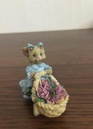 Винтажная мини-статуэтка мышка-садовод