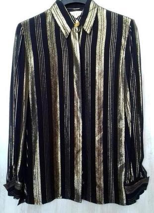 Блуза a. j. bari шифоновая блестящая, в золотую полоску в винт...