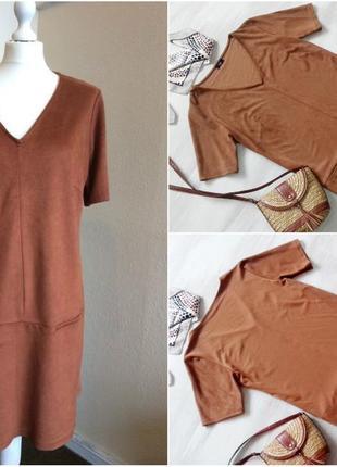 """Платье f&f из """"замши"""", прямое, карамельный цвет, uk16-18 размер"""