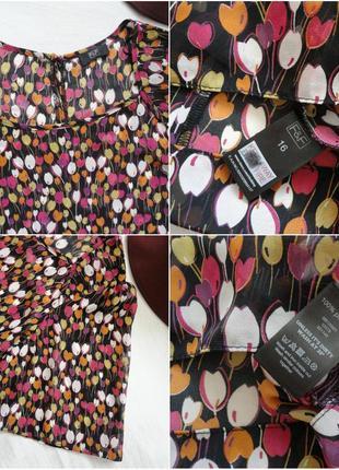 Блуза f&f шифоновая, свободная, в шикарный яркий принт тюльпан...