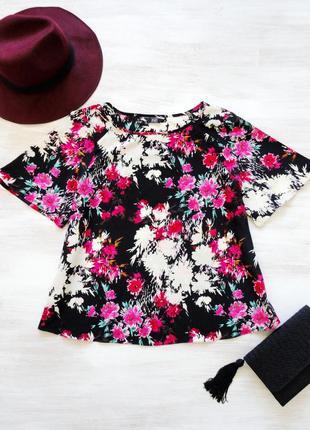 Блуза f&f в цветочный яркий принт, свободный силуэт