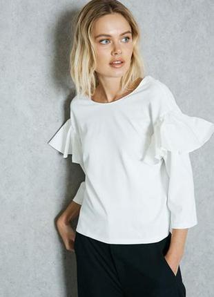 Блуза mango фактурная ткань, укороченные рукава, свободный сил...