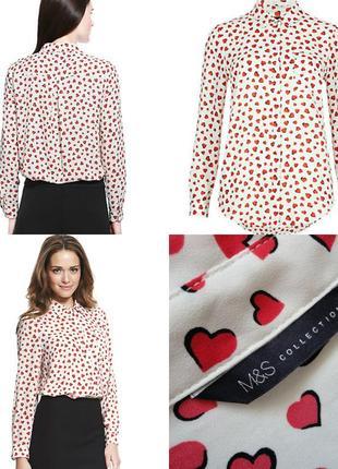Блуза m&s шифоновая в принт сердечки ♥