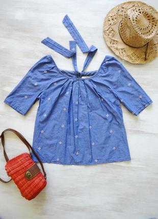 Блуза next хлопковая с вышивкой, сзади завязки, свободный силуэт