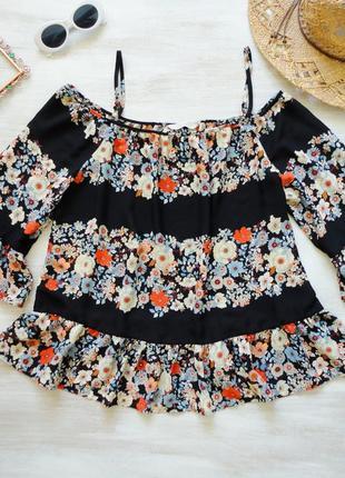 Блуза george топ свободный в цветочный принт, шифоновый, откры...
